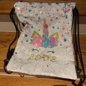 Unicorn Drawstring Bag with Flippy Sequins